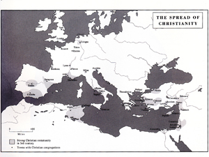 The spread of Christianity by the third century AD.