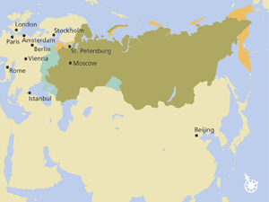 Russian borders under Peter the Great circa 1700.