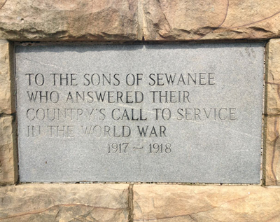 Sewanee Memorial Cross World War I plaque