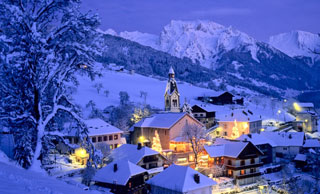 glowing snow covered village