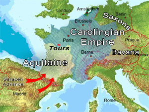 The battle of Tours map - 732 AD