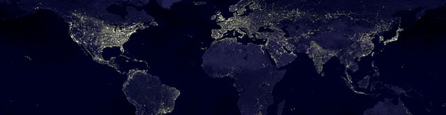 A nighttime view of Earth in 2000 AD